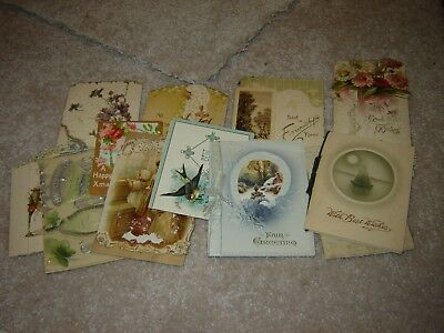 LOT B VINTAGE CHRISTMAS / new years GREETING CARDS large lot of 14