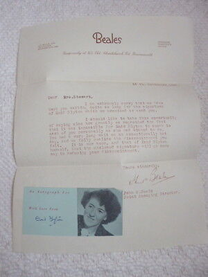 Signed letter by Enid Blyton at Beales Bournemouth 1949 signature autograph