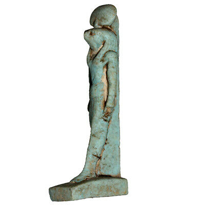 Circa 100 Bc-Ad Egyptian Faience Blue Statue Of Horus