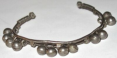ANTIQUE Asian STERLING SILVER Handmade CUFF BRACELET w/BELLS & HALLMARKS~LOT #1!