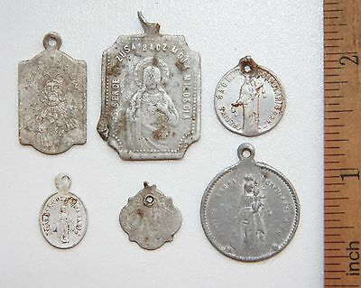 Group Of Ancient Old Catholic Medallion Pendant Scapular Szkaplerz (ARL)