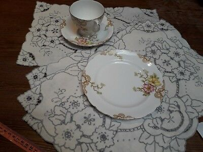 Vintage Madeira Table Mats Set X 5 Hand Embroidery Linen Christmas Dining