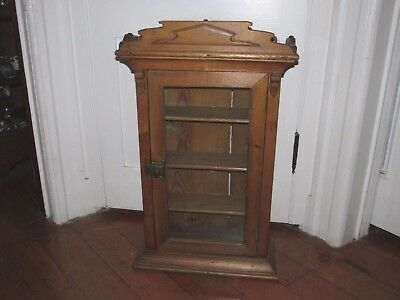 Antique English Pine Wooden One Door Cupboard, Old Wavy Glass & Ornate Detail