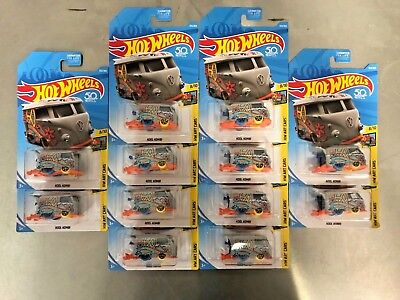 NEW Hot Wheels Volkswagen VW KOOL KOMBI LOT of 12 RARE VHTF 2018 HW Art Cars