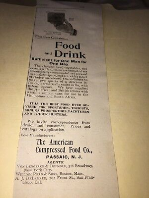 1896 American Compressed Food Co Ad, Food For 1 Day In A Small Can,passaic,nj