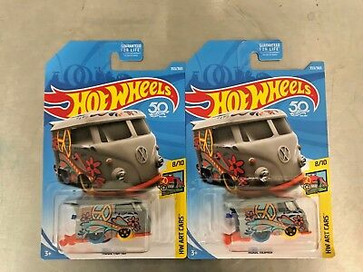 NEW Hot Wheels Volkswagen VW KOOL KOMBI LOT of 2 RARE VHTF 2018 HW Art Cars