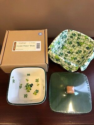 Longaberger Lucky Twist Basket with lid and pottery dish