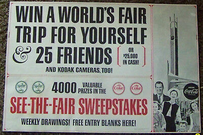 1963 Win a Trip to New York Worlds Fair Kodak Sprite & Coca Cola Paper Poster