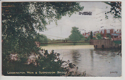 Leamington, Uk. Weir And Suspension Bridge. Vintage Postcard Pm 1922