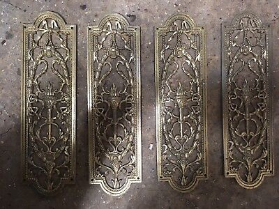 Ornate Brass Push/finger Door Plates X 4