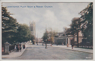Leamington, Uk. Pump Room And Parish Church. Vintage Postcard