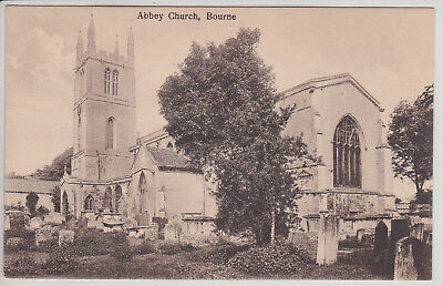 Bourne, Uk. Abbey Church. Vintage Postcard