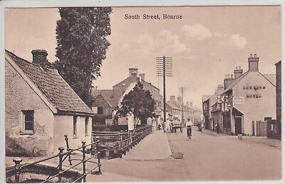 Bourne, Uk. South Street. Vintage Postcard