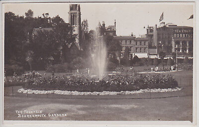Bournemouth, Uk. The Fountain. Gardens. Vintage Real Photo Postcard