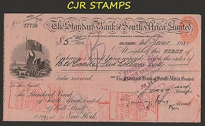 Rhodesia 1931  Standard Bank Cheque/check In $Us  -   Massive Size   -   Nice