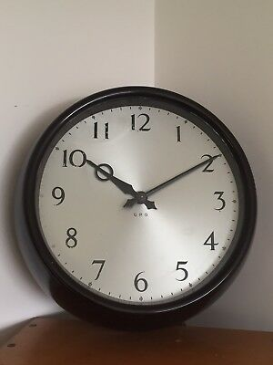 "English Clock Systems ECS 9"" Gpo Bakerlite Slave Clock Gents Synchronome"