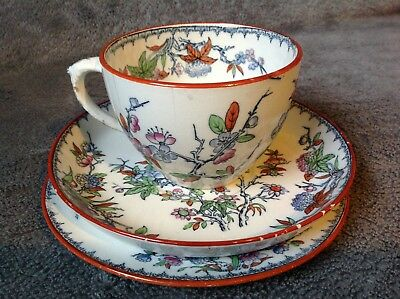 Antique Minton Cuckoo Pattern Cup, Saucer & Plate