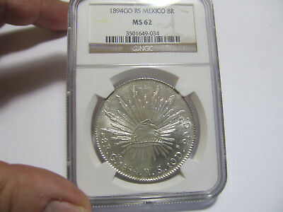 1894Go Rs Mexico 8 Reales Ngc Ms62 Nice Luster
