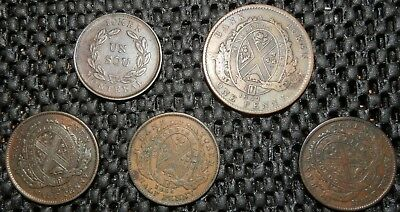 Canadian Province of Montreal, 5 coins total; Un Sou, penny, half pennies