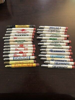 Vintage Lot Of 28 Advertising Bullet Pencils!