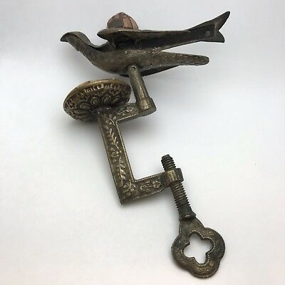 Victorian Brass Table Clamp Ornate Sewing Hemming Bird w/ Pin Cushions