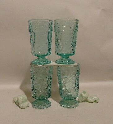 4 RARE Hocking MILANO Lido Footed PEDESTAL DRINK GLASS STEM Goblet Blue AQUA