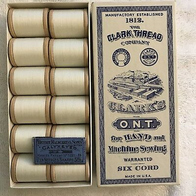 Antique Hand and Machine Thread and Needle LOT Clark Thread Co and Knox's (BOX!)