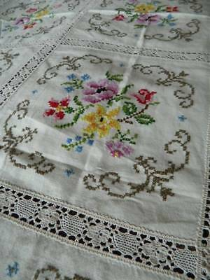 Vintage large banquet Irish linen tablecloth - hand embroidery & lace trim