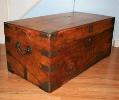 Lovely Smaller Antique Victorian Camphor Campaign Chest Trunk Box Coffee Table