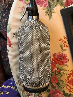 Vintage Glass Seltzer Bottle With Chain Link