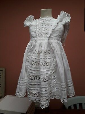 Antique Victorian Dress Child Doll Hand Embroidery White Cotton Vintage Original