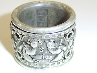 Large Old Unusual Rare Chinese White Metal Ring Prayer Spinning Example Archers