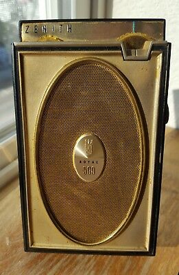 Zenith Royal 500H 8 Transistor Long Distance AM Radio with case  Works!