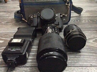 Canon A-1 35mm SLR Camera + 85mm Hoya zoom, Joshiba 70-210mm zoom lens & case