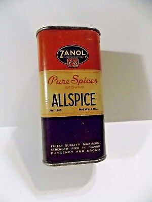 Vintage Collectible Advertising Spice Tin Zanol Pure Spices-Great For Display