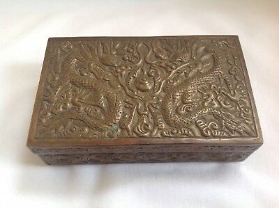 Antique Chinese Metal/Brass/Copper Raised Dragon Wood Lined Cigarette Box