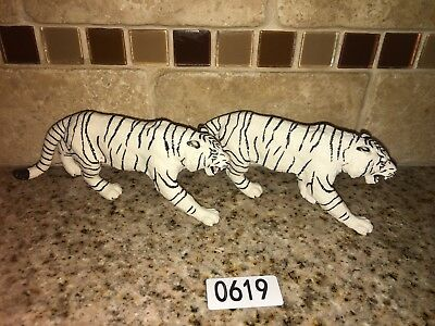 Safari Ltd Vanishing Wildlife White Tiger LOT of 2 PVC FIGURES # 0619