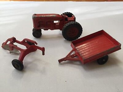 Vintage Hubley Farm Tractor Trailer Plow Kiddie Toy #5 USA