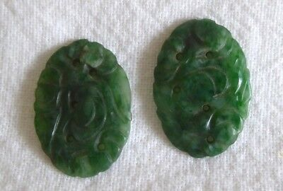 Pair Of Chinese Antique Carved Green Jade Cabochons/cameos.