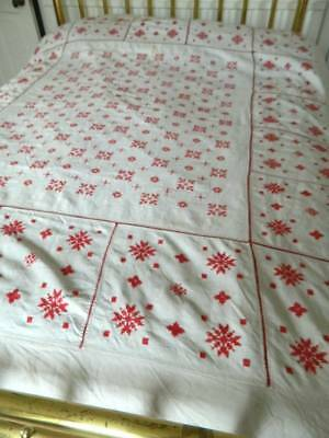 Vintage Scandinvian style Irish linen bedspread with red hand embroidery