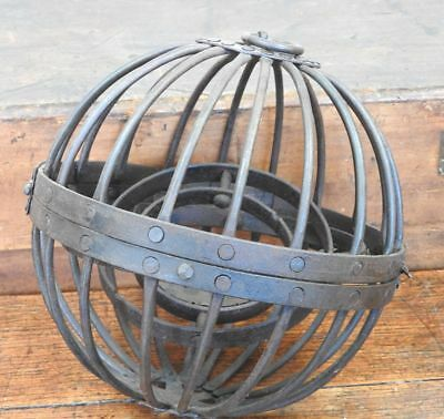 Gimballed Caged Whale Oil Lamp, perhaps for a ship, 19th century