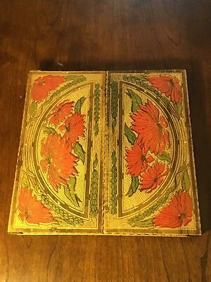 VINTAGE VICTORIAN PAINTED PYROGRAPHY WOOD BURNED HANDKERCHIEF BOX Poinsettias