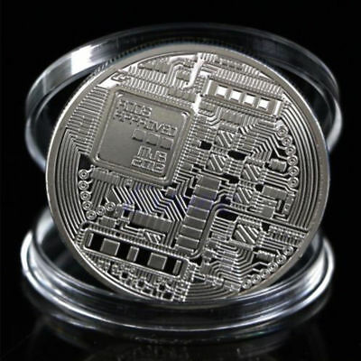 Bitcoin Silver Plated Physical Commemorative Bitcoin +Protective Acrylic Case #M