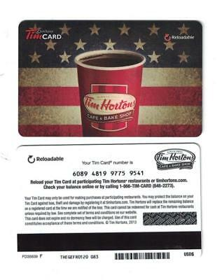 Tim Hortons 2013 USA 4th of July Gift Card FD35639