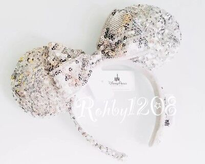 Disneyland DLR Silver Sequins Minnie Mouse Ears Headband Disney Parks BNWT