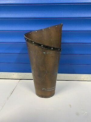 Vintage French Copper/leather Handmade Umbrella Stand