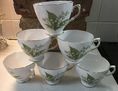 Vintage Royal Vale English Fine Bone China Tea Cups X 6 - Lily Of The Valley