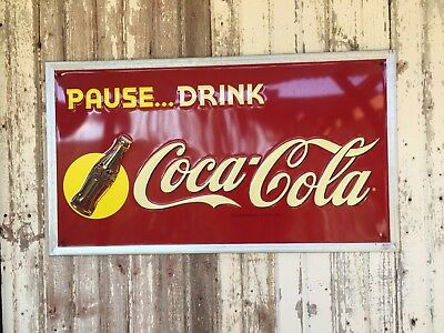 Vintage DRINK COCA-COLA Masonite ADVERTISING SIGN Not Marked Excellent