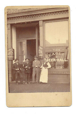 """Antique Cabinet Photo """"The Eagle"""" Beer Hall/Saloon w/Neef Bros. Beer Ad c1910"""