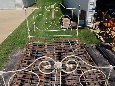 Antique Vintage Wrought Iron White Bed Frame Brass Knobs
